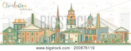 Charleston South Carolina Skyline with Color Buildings. Business Travel and Tourism Illustration with Historic Architecture.