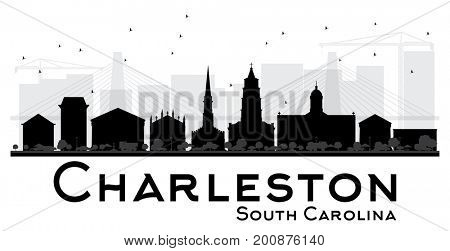 Charleston South Carolina City skyline black and white silhouette. Simple flat concept for tourism presentation, banner, placard or web site. Business travel concept. Cityscape with landmarks.