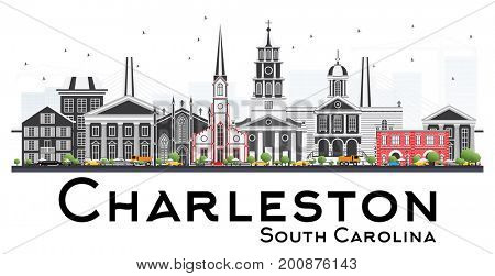 Charleston South Carolina Skyline with Gray Buildings Isolated on White Background. Business Travel and Tourism Illustration with Historic Architecture.