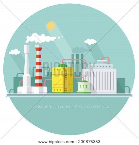 industry manufactory building. Factories producing oil and gas metals and rubber energy and power. Destroys nature. Icon of eco friendly factories. Flat Vector background illustration