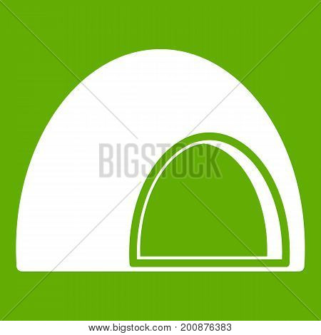 Souffle icon white isolated on green background. Vector illustration