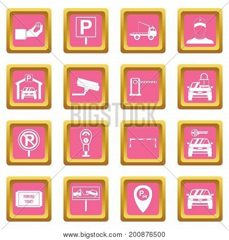 Parking set icons set in pink color isolated vector illustration for web and any design
