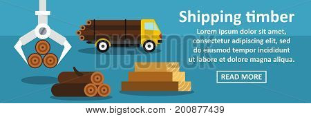 Shipping timber banner horizontal concept. Flat illustration of shipping timber banner horizontal vector concept for web