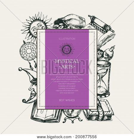 Mystical Arts - modern vector drawn square postcard, copy space. Realistic scroll, grimoire, pen, inkpot, crystal ball, candle, skull, dreamcatcher, candlestick, bag of runes, book, sun, moon, hourglass