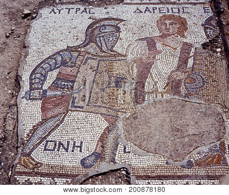 Mosaic of the Gladiator Lytras in the house of the Gladiators Kourion (Near Limassol) Cyprus