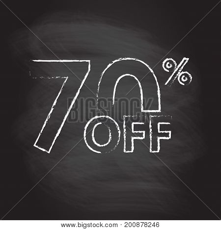 70% off. Sale and discount price sign or icon isolated on blackboard texture with chalk rubbed background. Sales design template. Shopping and low price symbol. Vector illustration.