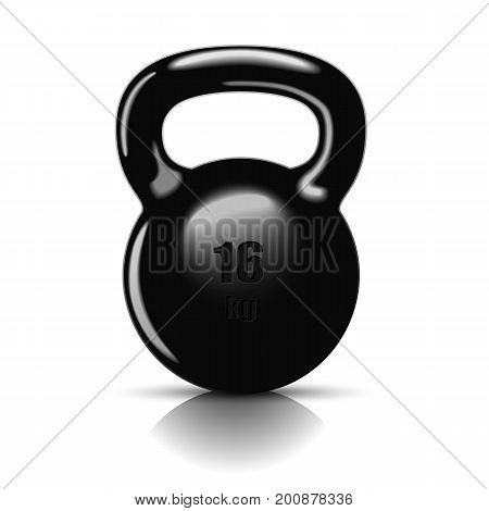 Kettlebell with handle for muscle strength training, a black heavy weight. Isolated on white background.