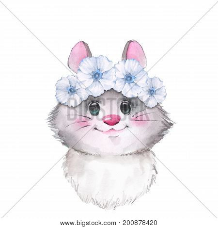 Mouse in wreath, cute watercolor illustration 2