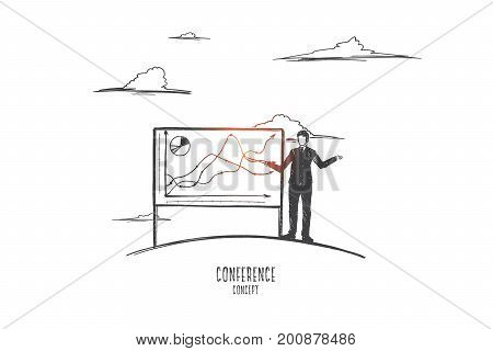 Conference concept. Hand drawn manager with pointer presenting report. Work conference, demonstration of the results of work isolated vector illustration.