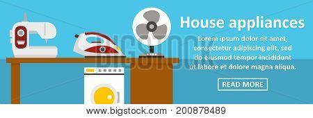 House appliances banner horizontal concept. Flat illustration of house appliances banner horizontal vector concept for web