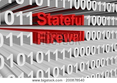 Stateful firewall in the form of binary code, 3D illustration