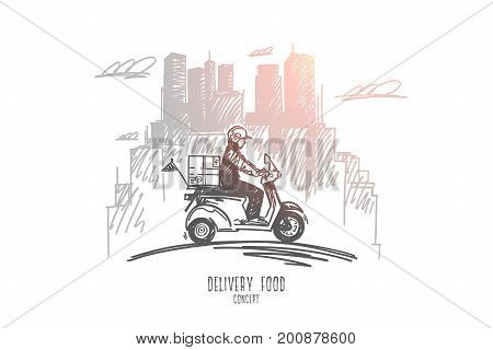 Delivery food concept. Hand drawn delivery scooter on its way to deliver food, modern buildings on background. Pizza man isolated vector illustration.