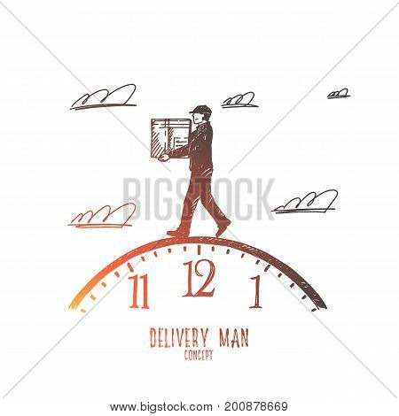 Delivery man concept. Hand drawn fast and reliable service, postal delivery courier man. Man holding carton box isolated vector illustration.