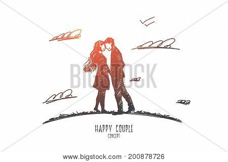 Happy couple concept. Hand drawn love couple embracing outdoors. Happy couple smiling and look at each other isolated vector illustration.