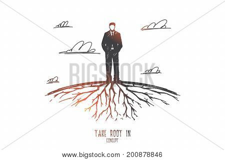 Take root in concept. Hand drawn man standing on Earth and roots under him. Male person in suit, roots grew under his legs isolated vector illustration.