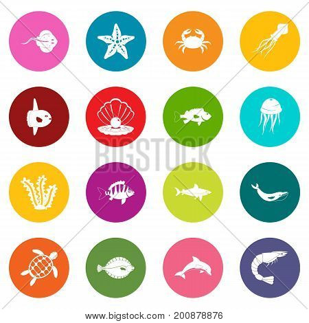 Sea animals icons many colors set isolated on white for digital marketing