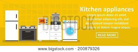 Kitchen appliances banner horizontal concept. Flat illustration of kitchen appliances banner horizontal vector concept for web