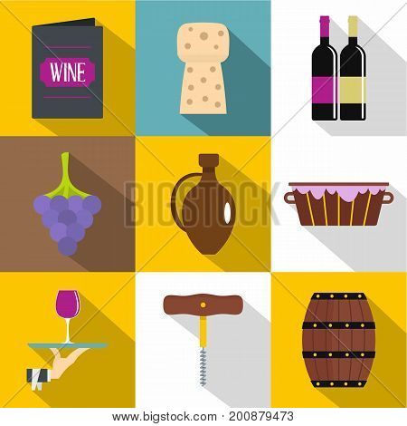 Wine store icons set. Flat set of 9 wine store vector icons for web with long shadow