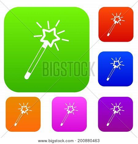 Magic wand set icon in different colors isolated vector illustration. Premium collection