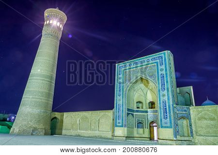 Kalyan Minaret And Mosque At Night, Bukhara