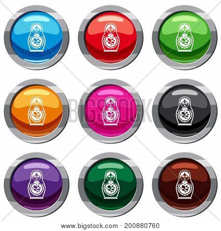 Matryoshka set icon isolated on white. 9 icon collection vector illustration