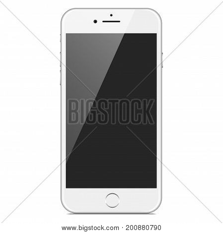 Realistic Smartphone Mockup - Realistic white and silver smartphone with a blank screen, isolated on a white background. Eps10 file with transparency.