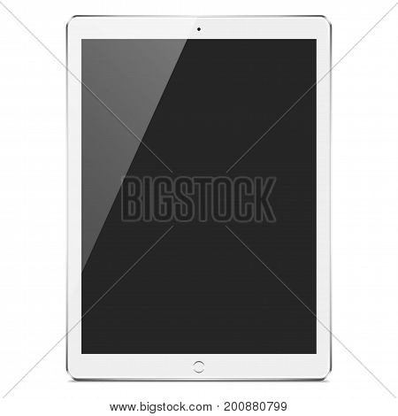 Realistic White and Silver Tablet Mockup - Realistic white and silver tablet with a blank screen, isolated on a white background. Eps10 file with transparency.