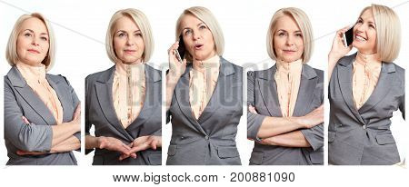 Woman in different situations closeup collage. Beautiful middle-aged businesswoman in joy, serious, talking on cell phone, surprised, thoughtful, dreaming.