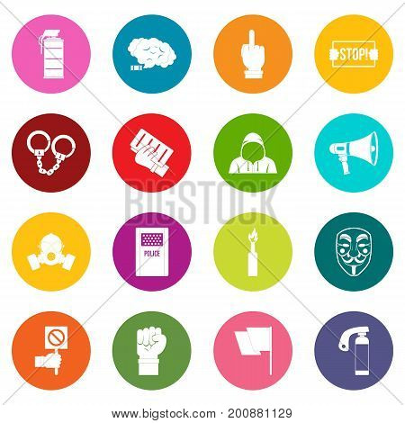 Protest icons many colors set isolated on white for digital marketing