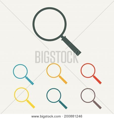 Magnifying glass icon. Magnifier in flat style. Colorful vector illustration.