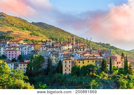 View of Rio Nell'Elba village at sunset time Elba Island Tuscany Italy.