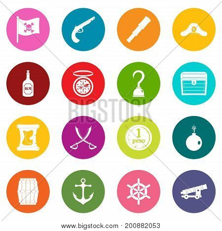 Pirate icons many colors set isolated on white for digital marketing