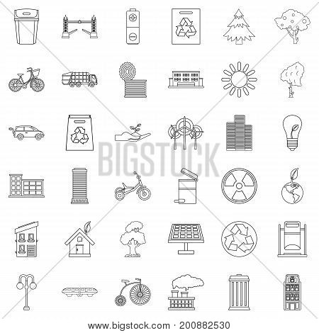 House icons set. Outline style of 36 house vector icons for web isolated on white background