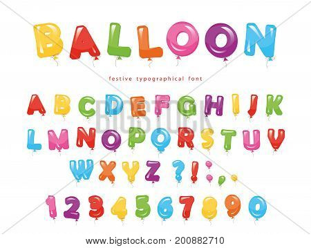 Balloon colorful font. Festive glossy ABC letters and numbers. For birthday, baby shower celebration. Vector