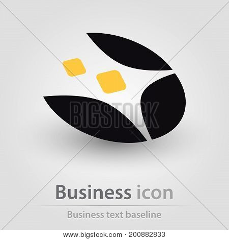 Black and wellow multi shapedbusiness icon in perspective view