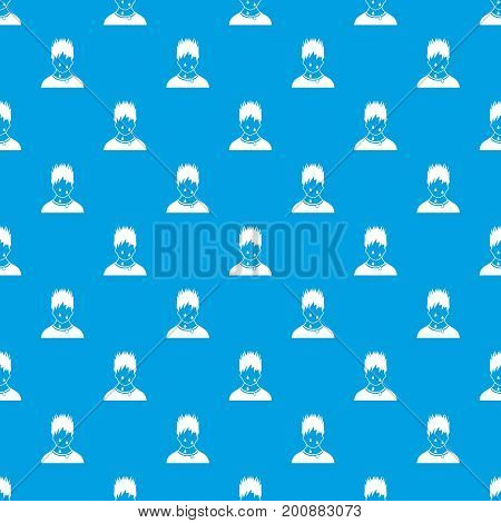Sweaty man pattern repeat seamless in blue color for any design. Vector geometric illustration