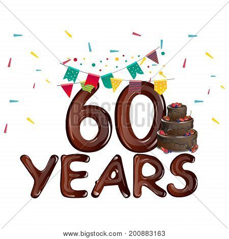 Happy birthday number 60 greeting card. Vector illustration
