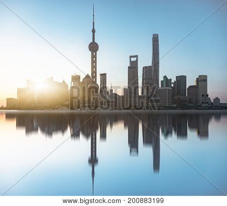 Shanghai skyline panorama landmarks of Shanghai with Huangpu river in China.