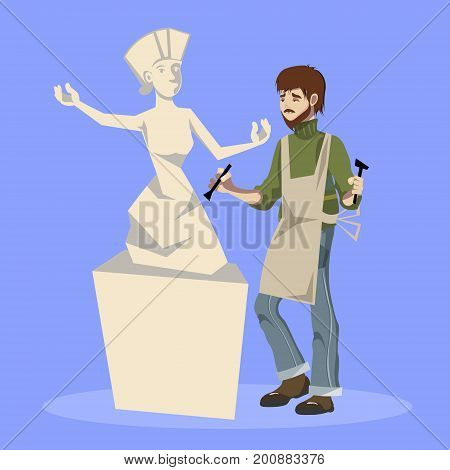 Sculptor holding chisel and hammer. Vector illustration