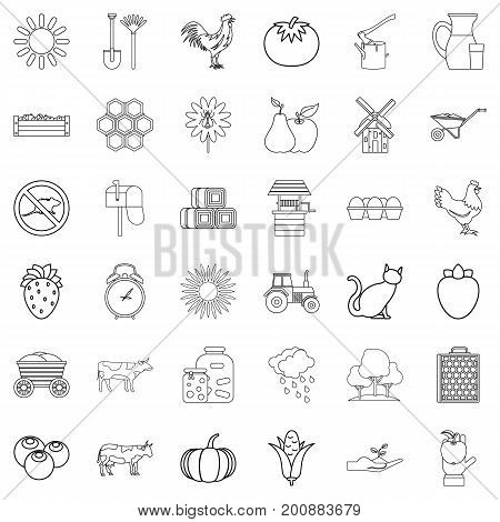 Windmill icons set. Outline style of 36 windmill vector icons for web isolated on white background