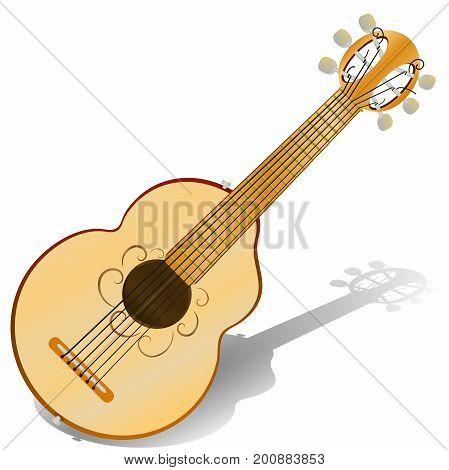 Six string , acoustic guitar . Vector illustration  Musical instrument