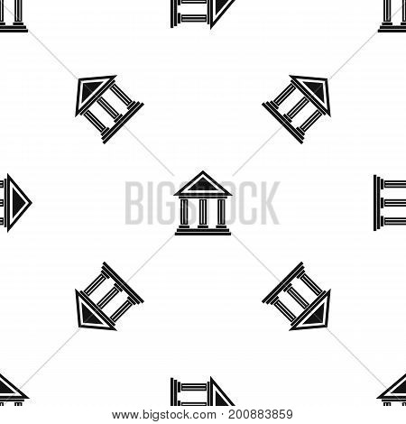 Colonnade pattern repeat seamless in black color for any design. Vector geometric illustration