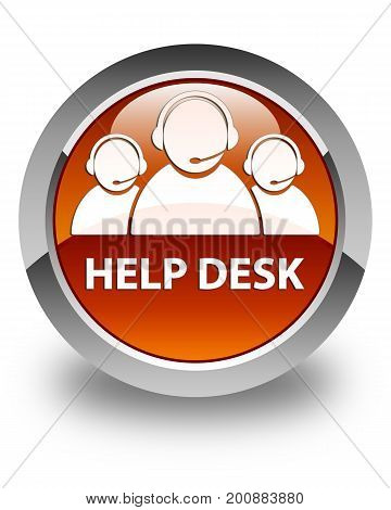 Help Desk (customer Care Team Icon) Glossy Brown Round Button