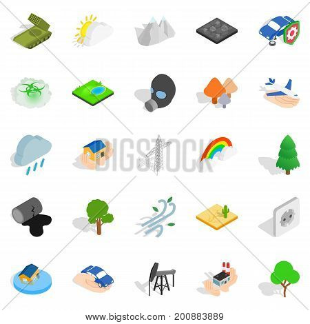 Flammable icons set. Isometric set of 25 flammable vector icons for web isolated on white background