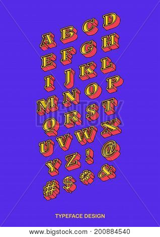 Isometric Colourful Serifs Typeface with Black Outline Vector Illustration