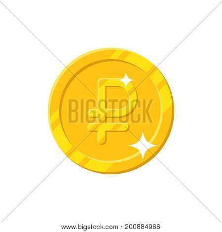 Gold ruble coin cartoon style isolated. Shiny gold ruble sign for designers and illustrators. Gold piece in the form of a vector illustration