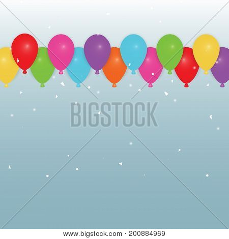 Colorful party balloons and confetti stock vector