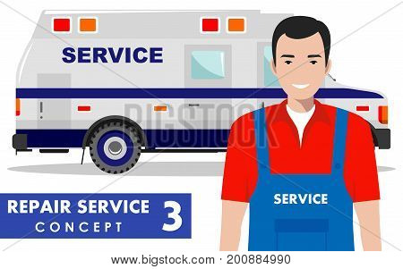 Detailed illustration of service car and master repairer on white background in flat style.