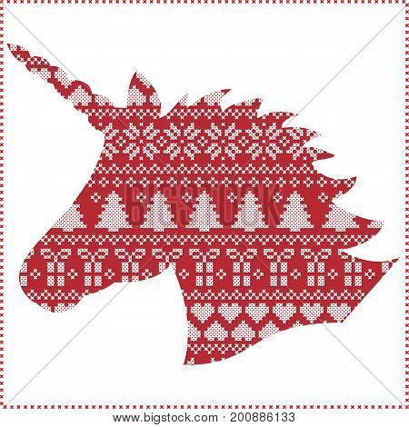Scandinavian,  Nordic style winter stitching Christmas seamless pattern  including snowflakes, hearts, present, snow, star, Christmas tree, decorative ornaments in Unicorn Shape  in red and white