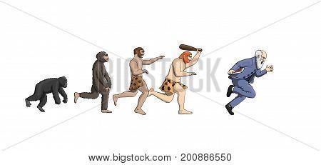 Cartoon evolution theory, progression of man mankind